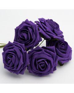Purple large open rose foam flower – bunch of 5