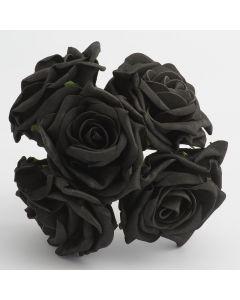 Black large open rose foam flower – bunch of 5