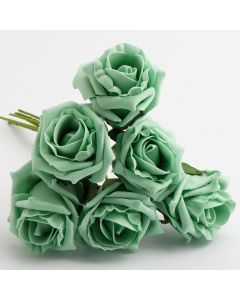 Mint 5cm Colourfast foam rose – bunch of 6