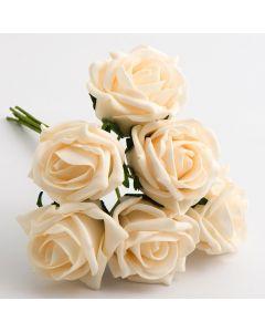 Cream 5cm Colourfast foam rose – bunch of 6