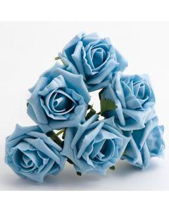 Light Blue 5cm Colourfast foam rose – bunch of 6