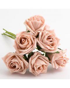 Vintage Peach 5cm Colourfast foam rose – bunch of 6