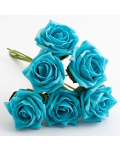 Turquoise 5cm Colourfast foam rose – bunch of 6