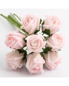 Pale Pink 3cm Colourfast foam rose – bunch of 8