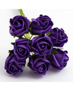 Purple 3cm Colourfast foam rose – bunch of 8