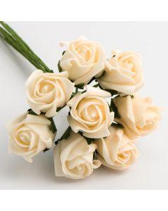 Cream 3cm Colourfast foam rose – bunch of 8