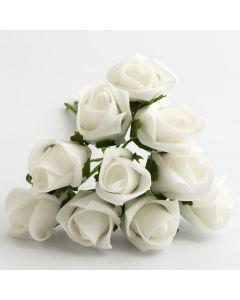 White 3.5 x 5cm Colourfast foam rose – bunch of 10