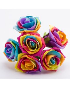 Rainbow / Pride 5cm Colourfast Foam Rose – Bunch of 6