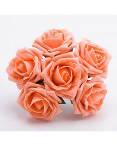Peach 5cm Colourfast foam rose – bunch of 6