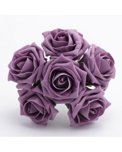 Vintage Lilac 5cm Colourfast foam rose – bunch of 6