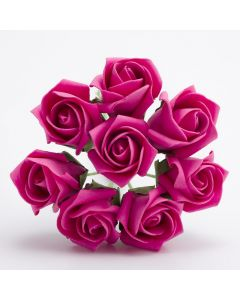 Hot Pink 3cm Colourfast foam rose – bunch of 8