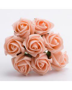 Vintage Peach 3cm Colourfast foam rose – bunch of 8