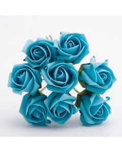 Turquoise 3cm Colourfast foam rose – bunch of 8