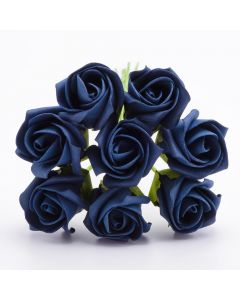 Navy 3cm Colourfast foam rose – bunch of 8