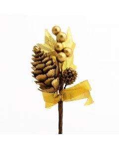 Cones & Berries Spray – Gold (12 Pack)