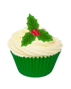 Edible Wafer Toppers - Holly Design - Pack of 12