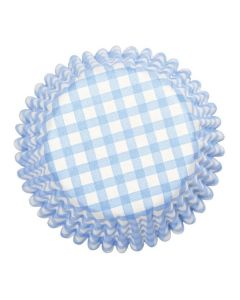 Blue Gingham Printed Baking Cases - 54