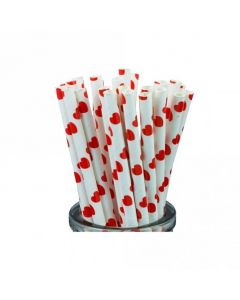 Red Hearts Paper Straws x 25