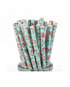 Rose Pattern Paper Straws x 25