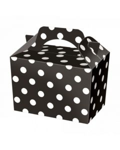 Black Polka-Dot Cake And Sweet Box With Handle (Pack of 5)