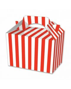 Red Striped Cake And Sweet Box With Handle (Pack of 5)