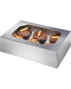 6 Cupcake Box Glossy Silver (Pack of 2)
