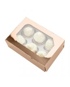 6 Cupcake Box Glossy Rose Gold  (Pack of 2)