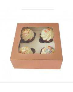 4 Cupcake Box Satin Rose Gold  (Pack of 5)