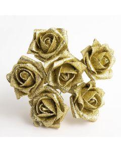 Gold Glitter 5cm Colourfast foam rose – bunch of 6