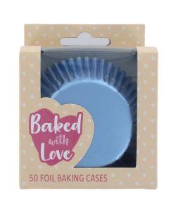 BWL - Ice Blue Foil Baking Cases - 50 Pack