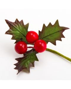 Berries and Holly Leaves Spray – Red (12 Pack)