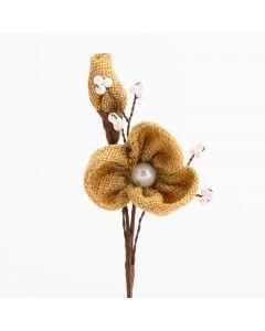 Hessian Flower Spray – Natural (12 Pack)