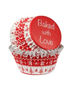 Baked with Love Foil Lined Baking Cases - Nordic Red - Pack of 25