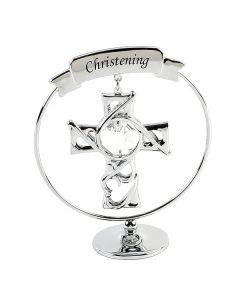 Chrome Plated Christening Cross with Swarovski Crystal