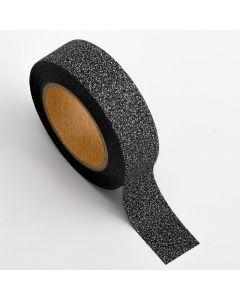 AT001 - Adhesive Washi Tape – Glitter – Black 15mm x 10m