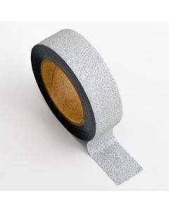 AT010 - Adhesive Washi Tape – Glitter – Silver 15mm x 10m