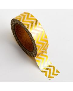 AT015 - Adhesive Washi Tape – Foil Chevron – Gold 15mm x 10m