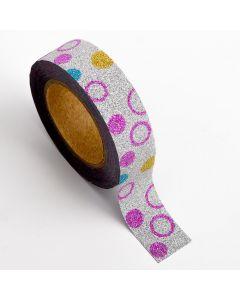AT019 - Adhesive Washi Tape – Glitter Circles – Multi 15mm x 10m