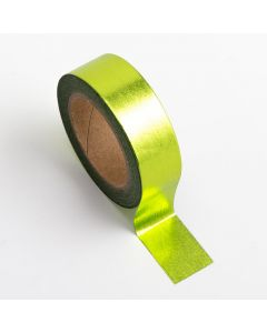 AT022 - Adhesive Washi Tape – Foil – Lime Green 15mm x 10m