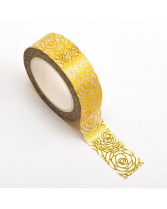 AT033 - Adhesive Washi Tape – Foil – Rose Floral Gold 15mm x 10m