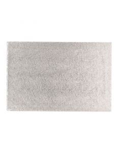 """18"""" x 14"""" Double Thick Rectangle Turn Edge Cake Cards Silver (Pack of 10)"""