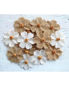 Hessian Medium Beaded Flowers (18 Pack)