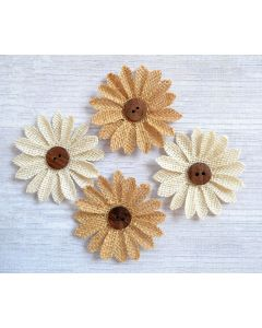 Hessian Button Flowers (4 Pack)