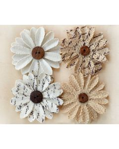 Hessian & Canvas Button Flowers (4 Pack)