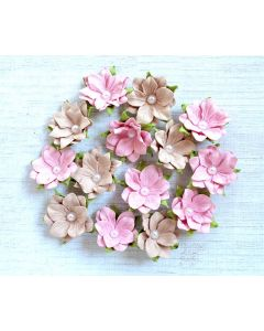 Paper Flowers with Pearl – Pink Blush  (14 Pack)