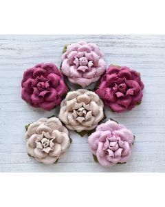 Vintage Paper Flowers – Pink Tones  (6 Pack)
