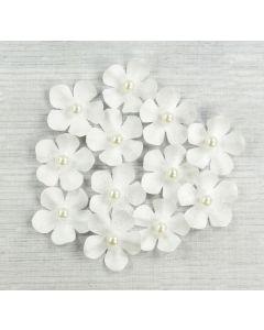 Glitter Paper Flowers – White (12 Pack)