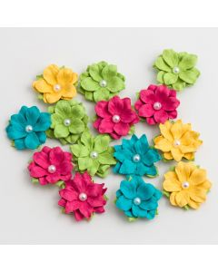 Paper Flowers with Pearl – Tropical Crush (14 Pack)
