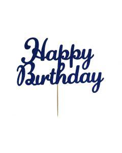 Cake Topper - Happy Birthday - Navy Blue