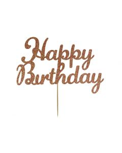 Cake Topper - Happy Birthday - Rose Gold
